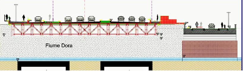 Il nuovo ponte sulla Dora (immagine estrapolata dal progetto esecutivo, fonte comune di Torino)