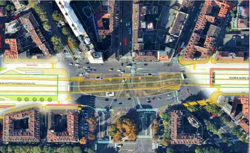 sottopasso Statuto (immagine estrapolata dal progetto esecutivo, fonte comune di Torino)