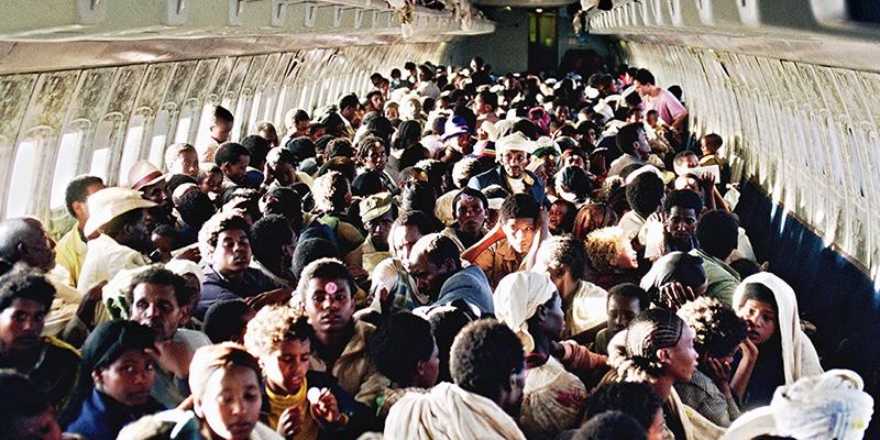"Ethiopian Jews known as ""Falashas"" sit on bard of"