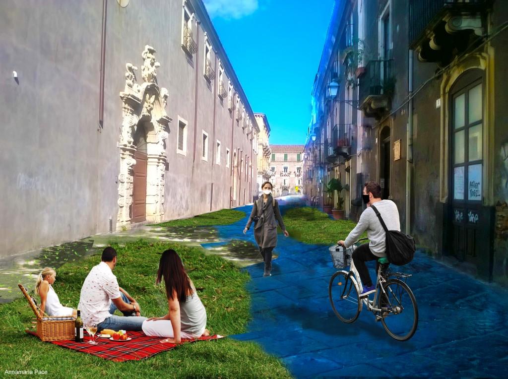 Redistribuzione dello spazio pubblico a Catania: rendering architetto Annamaria Pace