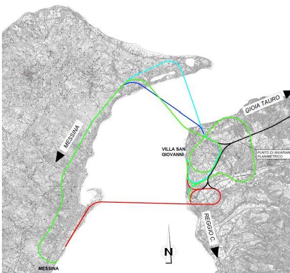 Figura 1 -Schemi di possibili alternative tecnologiche e di tracciato per il sistema ferroviario di attraversamento stabile dello stretto di Messina